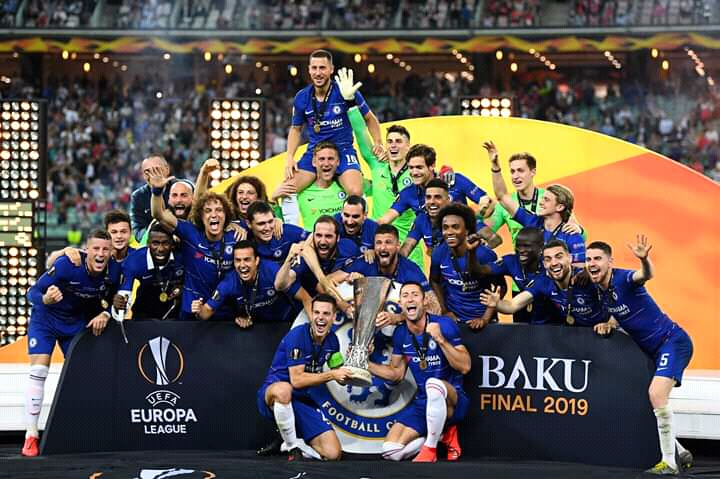 Chelsea Route Arsenal To Win Europa League Trophy.